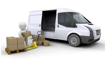 cartoon same day courier man loading boxes in a transit van