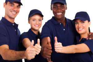 service staff thumbs up