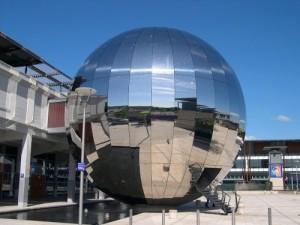 silver sphere at Bristol Planetarium