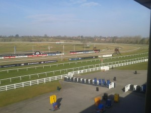 image from the stands of an emptyLingfield Park Racourse taken on a sunny spring morning